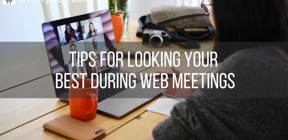 "Woman looking at laptop during a web conference with a text overlay that reads ""Tips for looking your best during web meetings"""